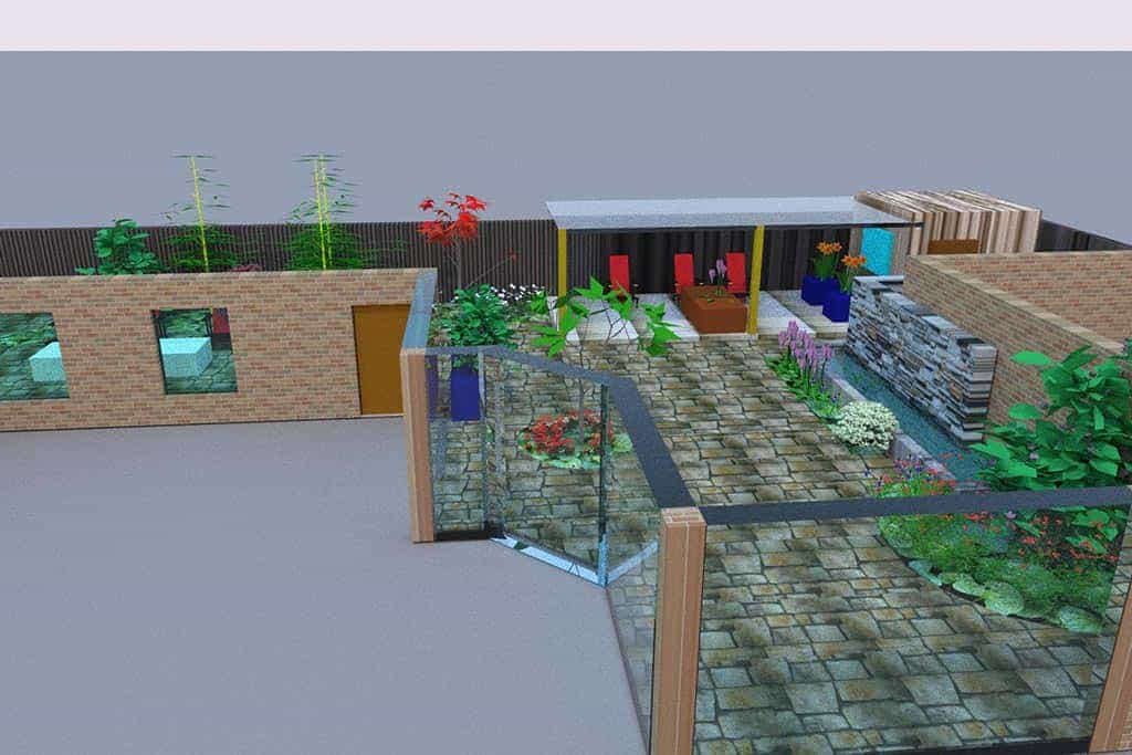 A van spelde hoveniers tuinontwerp 3d met strakke heldere for Tuinontwerpen achtertuin