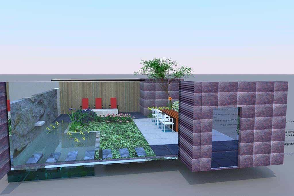 A van spelde hoveniers tuinontwerp 2 en 3d in geldrop for Moderne waterpartijen tuin