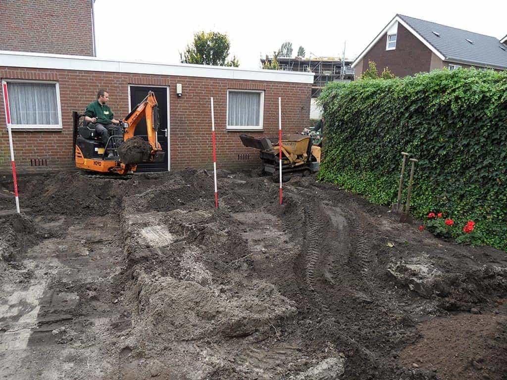 Tuin Zand Afvoeren : A van spelde hoveniers aanleg achtertuin in loon op zand