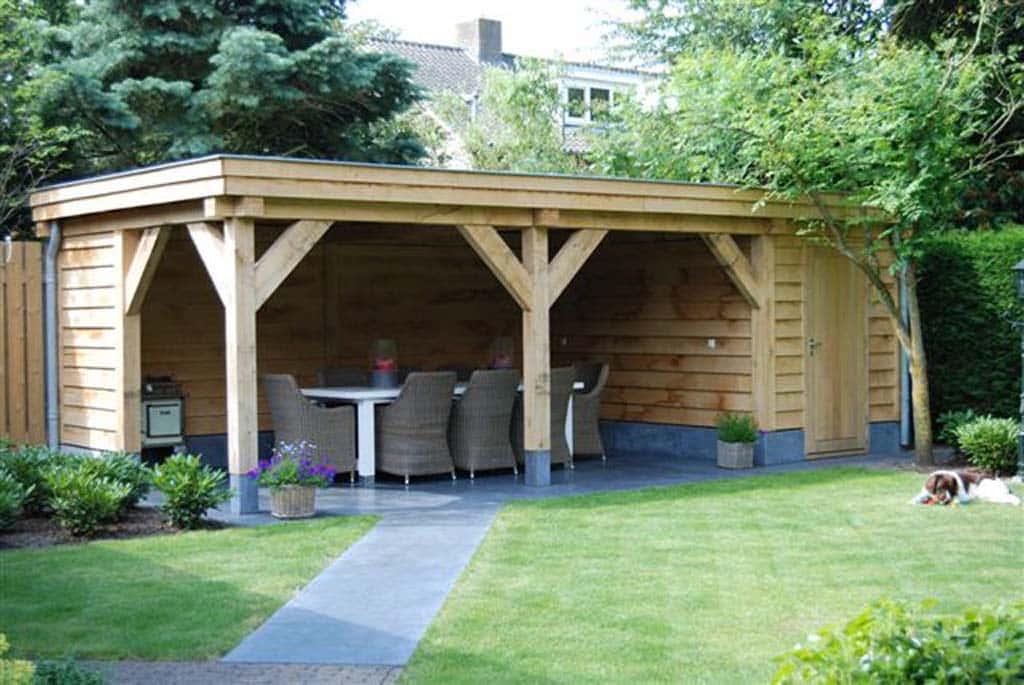 A van spelde hoveniers voorbeelden van tuinoverkappingen for Moderne tuin met overkapping