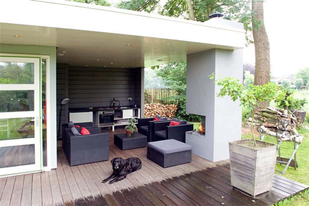 A van spelde hoveniers voorbeelden van tuinoverkappingen tuinhuizen tuin schuren - Veranda met stenen muur ...