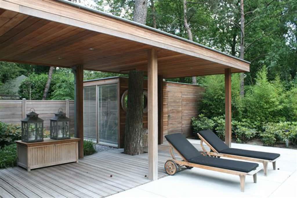 A van spelde hoveniers moderne tuinhuizen overkappingen - Voorbeeld van houten pergola ...