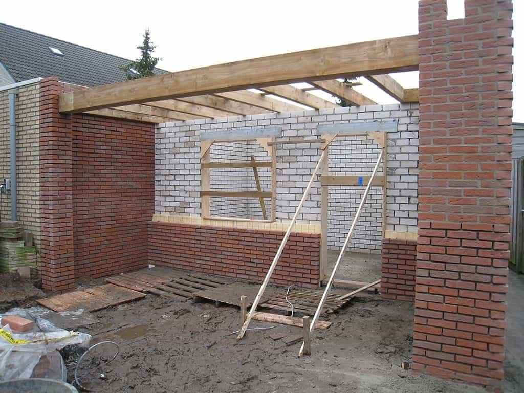 Wand Maken Multiplex : ... schoorbalken 80x80mm, Boelplank voorzijde ...